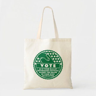 Voting Shows Your Character -- Green & White Tote Bag