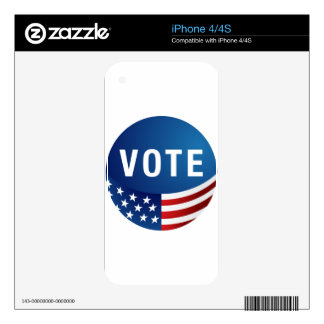 Voting USA American Icon Round Button Skin For iPhone 4S