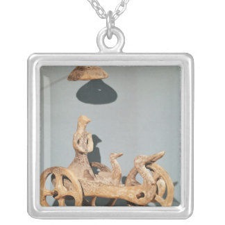 Votive chariot with an anthropomorphic divinity silver plated necklace