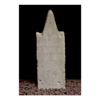Votive stela with an elephant, from Carthage Poster