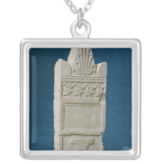 Votive stele with a triangular pediment silver plated necklace