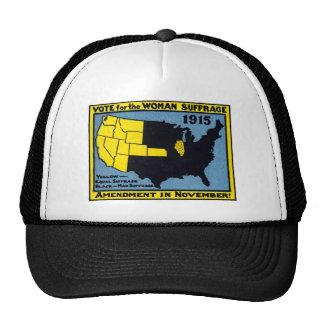 Voto 1915 para el sufragio de la mujer gorras
