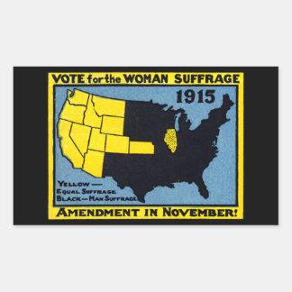 Voto 1915 para el sufragio de la mujer pegatina rectangular