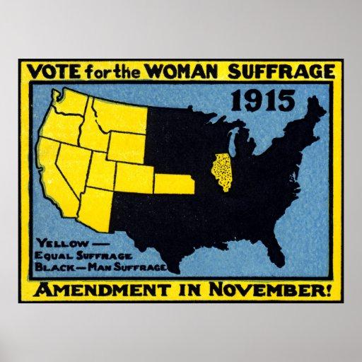 Voto 1915 para el sufragio de la mujer póster