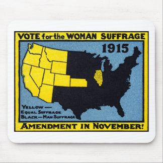 Voto 1915 para el sufragio de la mujer tapete de ratón