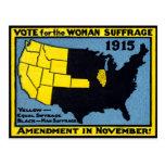 Voto 1915 para el sufragio de la mujer tarjeta postal