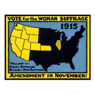 Voto 1915 para el sufragio de la mujer tarjetas postales
