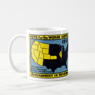 Voto 1915 para el sufragio de la mujer taza básica blanca