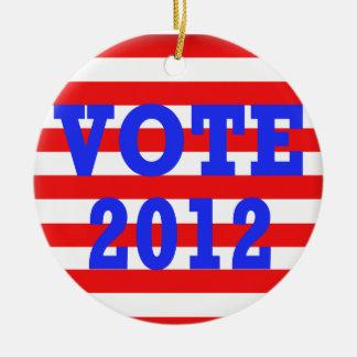 Voto 2012 de las rayas adornos de navidad