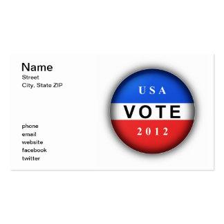 Voto 2012 de los E.E.U.U. Tarjetas De Visita