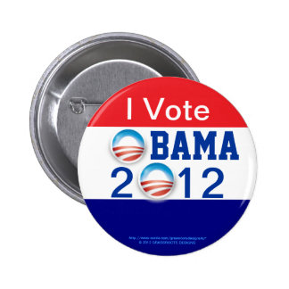 Voto, 3D el logotipo, 2do término de OBAMA 2012 Pin Redondo De 2 Pulgadas
