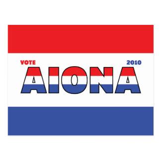 Voto Aiona 2010 elecciones blanco y azul rojos Tarjetas Postales
