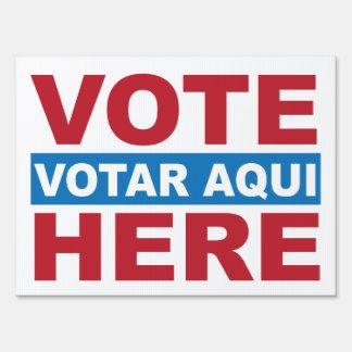 Voto aquí inglés y español Votar Aqui Letrero