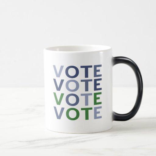 Voto azul y verde taza de café