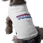 Voto blanco y azul rojo camisetas de mascota