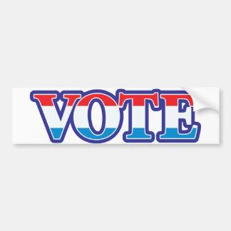 Voto blanco y azul rojo etiqueta de parachoque