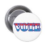 Voto blanco y azul rojo pin
