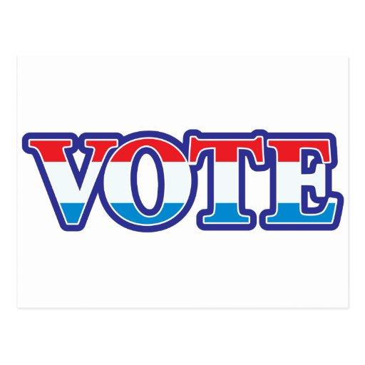 Voto blanco y azul rojo tarjeta postal
