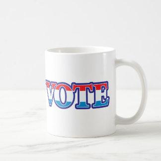 Voto blanco y azul rojo tazas de café
