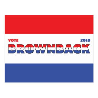 Voto Brownback 2010 elecciones blanco y azul rojos Postales
