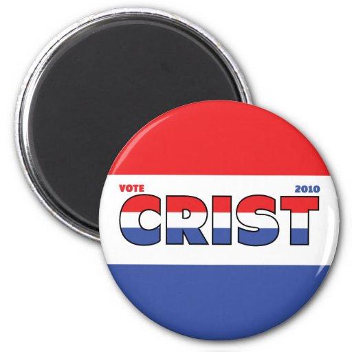 Voto Crist 2010 elecciones blanco y azul rojos Imán De Frigorifico