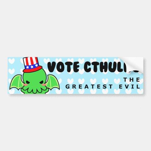 Voto Cthulhu para el presidente pegatina para el p Pegatina De Parachoque