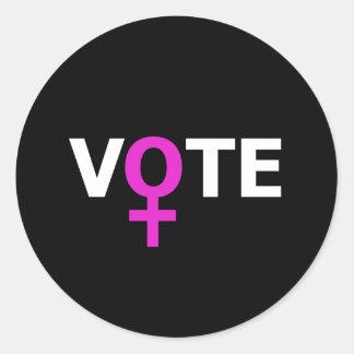 Voto de las mujeres pegatina redonda