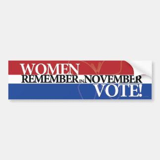 Voto de las mujeres - recuerde en el 3 de noviembr etiqueta de parachoque