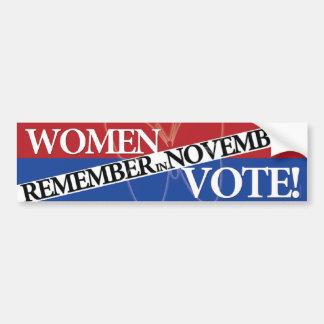 Voto de las mujeres - recuerde en el 9 de noviembr pegatina para auto