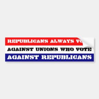 Voto de los republicanos contra uniones… pegatina para auto
