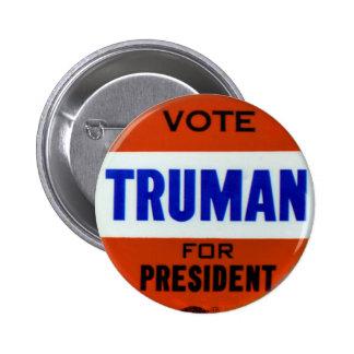 Voto del botón de la campaña de Truman del vintage Pin Redondo De 2 Pulgadas