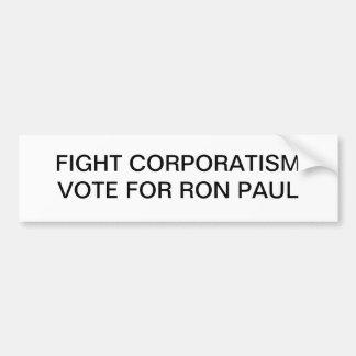 Voto del corporatismo de la lucha para la pegatina etiqueta de parachoque