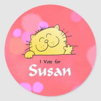 Voto del gatito para el regalo de la diversión de pegatina redonda
