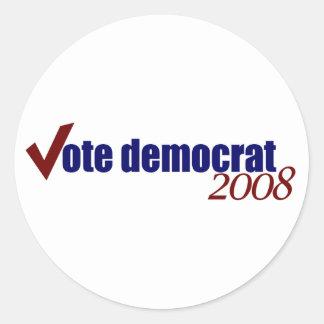 Voto Demócrata 2008 Pegatinas Redondas