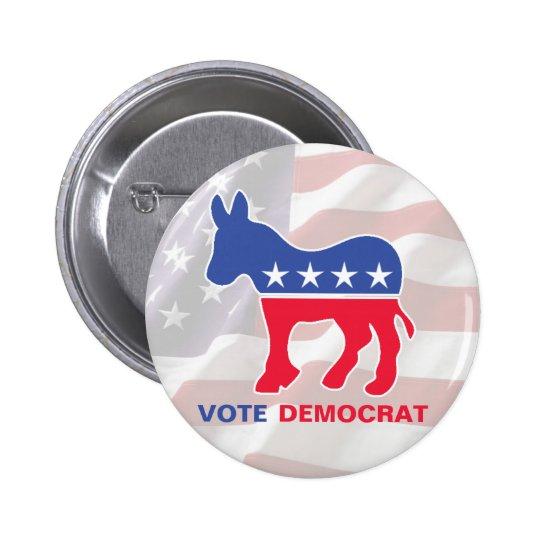 Voto Demócrata con el burro Pin Redondo De 2 Pulgadas