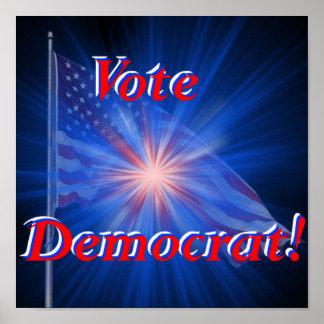 ¡Voto Demócrata! Impresión Póster