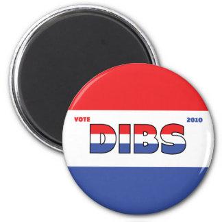 Voto Dibs 2010 elecciones blanco y azul rojos Imán Redondo 5 Cm