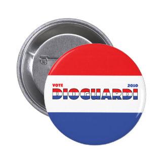Voto DioGuardi 2010 elecciones blanco y azul rojos Pin Redondo De 2 Pulgadas