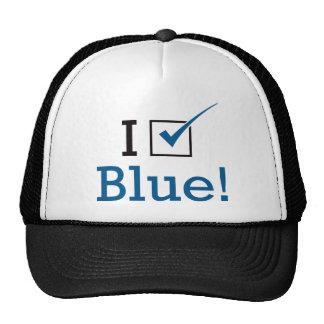 Voto el azul gorros bordados