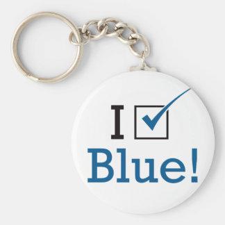 Voto el azul llavero redondo tipo pin