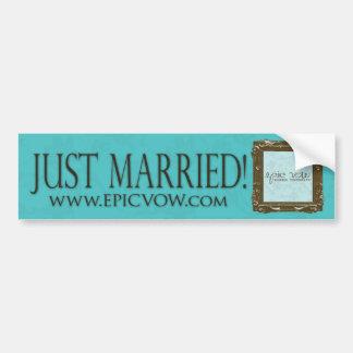 """Voto épico """"apenas casado """" etiqueta de parachoque"""