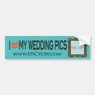"""Voto épico """"yo ♥ mis imágenes del boda """" etiqueta de parachoque"""