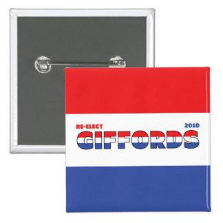 Voto Giffords 2010 elecciones blanco y azul rojos Pin Cuadrada 5 Cm