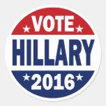 Voto Hillary 2016 Pegatina Redonda
