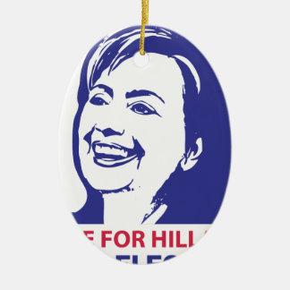 voto hillary Clinton 2016 Adorno Navideño Ovalado De Cerámica