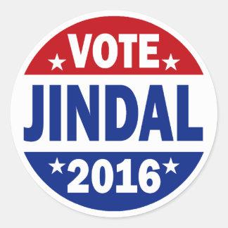 Voto Jindal 2016 Pegatina Redonda