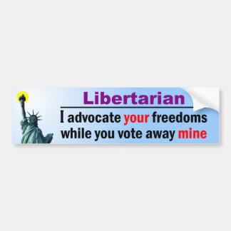 Voto lejos mis libertades etiqueta de parachoque