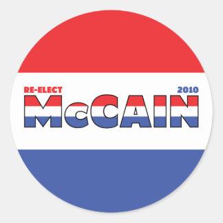 Voto McCain 2010 elecciones blanco y azul rojos Pegatina Redonda