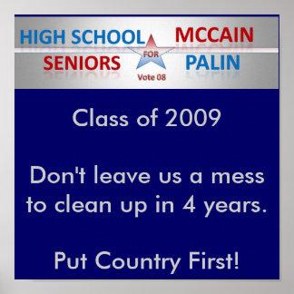 Voto McCain y Palin de los mayores Póster