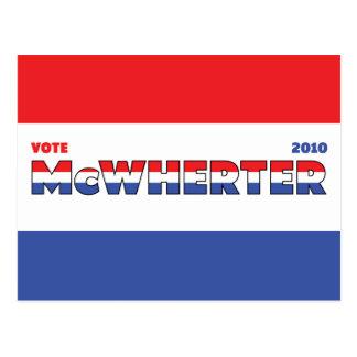 Voto McWherter 2010 elecciones blanco y azul rojos Tarjetas Postales